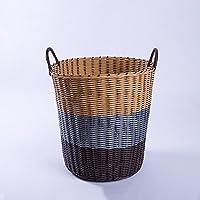 YI LU Deng JU- プラスチック製の洗濯ハムバー、ランドリーバスケット、バスケット衣類バスケット、バスルーム汚れた洗濯バケツ、おもちゃボックス、収納バスケット (色 : コーヒーカラー こ゜ひ゜から゜)