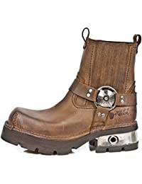 New Rock Shoes - Brown Venture Aviator Neobiker Leather Boots