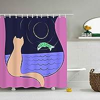 プラスチックフック付きシャワーカーテン165x180 Cat 浴室 防水 防カビ加工 洗面所 間仕切り 目隠し用 取付簡単