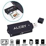 Alceyポータブル一体型 接触型ICカードリーダー(B-CAS・住基カードなど対応) USB共有アクセスCACスマートカードリーダー