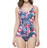 メルミー(MeLuMe) レディース フィットネス 水着 競泳 練習用 スポーツ 体型カバー アメリカン 星条旗 柄 おしゃれ リゾート風 スマホ 防水ケース付きMLAP-161886-White Blue-M