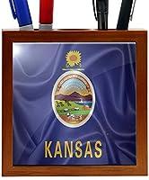 Rikki Knight RK-PH2689 Kansas State Flag Design 5-Inch Wooden Tile Pen Holder (RK-PH2689) [並行輸入品]