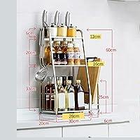 ステンレス製シェルフ3段キッチンスペース節約フロアシェルフ、キッチン用収納シェルフ、60 x 20 x 30/40/50 cm (サイズ さいず : 40 cm 40 cm)