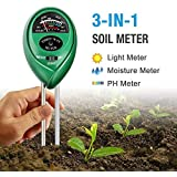 Soil pH Meter, 3-in-1 Soil Tester Kits with Moisture,Light and PH Test for Garden, Farm, Lawn, Indoor & Outdoor (No Battery Needed)