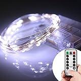 Lyhoon LEDジュエリーライト 5m 50球 電池式 点灯8パターン・コントローラ付 防雨仕様 (5M, ホワイト) [並行輸入品]