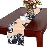 GGSXD テーブルランナー 親しい オレンジ色猫 クロス 食卓カバー 麻綿製 欧米 おしゃれ 16 Inch X 72 Inch (40cm X 182cm) キッチン ダイニング ホーム デコレーション モダン リビング 洗える