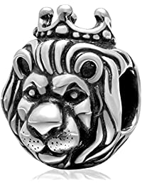 King Lion Charm 925 Sterling Silver Animal Charm Lucky Charm for Pandora Bracelet (A)