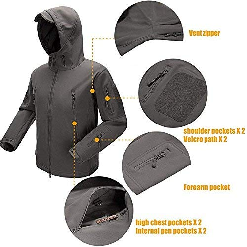 Top Greener Men's Tactical Jacket Soft Shell Windbreaker Fleece Hooded Special Ops Outdoor Breathable Zipper Casual Bomber Coat (XX-Large, Grey)