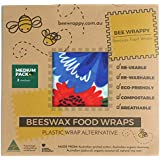 """Beeswax Food Wraps 2-Medium Pack by Bee Wrappy - Tested to FDA Standards - Australian Made – 2 Medium (12"""" X 10"""") - Washable"""