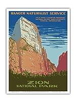 ザイオン国立公園 - 偉大な白い玉座山 - レンジャー自然主義サービス - ビンテージな世界旅行のポスター によって作成された 公共事業促進局 (WPA) c.1938 - アートポスター - 23cm x 31cm