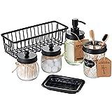 Premium Mason Jar Bathroom Accessories Set (6PCS) - Lotion Soap Dispenser,Toothbrush Holder,2 Apothecary Jars(Qtip Holder), S