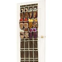 24ポケットをドアのハンギング靴オーガナイザー、ファブリックブラウン靴ストレージバッグラック