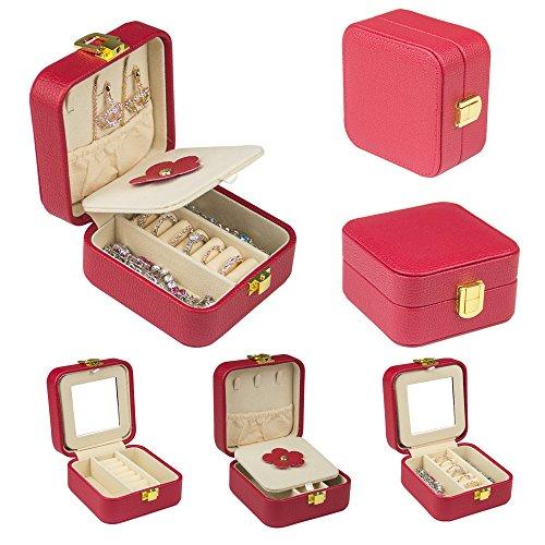 旅行 ジュエリー ボックス 鏡付き アクセサリー箱 携帯用 収納ケース 小物 宝石箱 プレゼント 女...