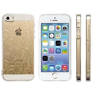 Highend berry iPhone SE 5s 5 ストラップ ホール 保護キャップ 一体型 ソフト TPU ケース リング フィンガー ストラップ 付き ペイズリー