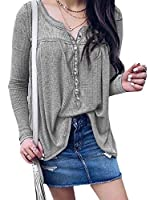 VITryst リラックスしたチュニックトップの女性の純粋な色のティープルオーバートップ長いそでボタン Grey XL