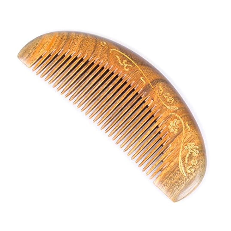 ブリーズライクBreezelike 緑檀 静電気防止 櫛 細歯 半月形 金色の花 グリーンサンダルウッド コーム