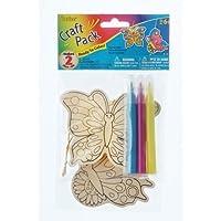 Bulk Buy: Darice Crafts for Kids Wood Ornament Kit Butterfly Makes 2 (6-Pack) 9190-793D [並行輸入品]