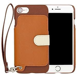 RAKUNI Light PU Leather Case Book Type with Strap for iPhone 7 (ブラウン) PUレザー スタンド機能 カードケース カバー ストラップホール付き RCB-7-BR