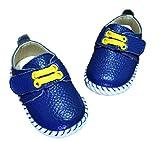 キッズ レザー シューズ 子供 靴 マジックテープ 式 ベビー シューズ (11.5cm, 青色)