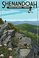 Shenandoah国立公園、バージニア州–ハイカーand Hawk 16 x 24 Signed Art Print LANT-42279-709