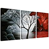 Wieco Art - The Cloud Tree 3 Piece Large Modern Gallery Wrapped Giclee Canvas Prints Abstract Seascape Paintings Reproduction