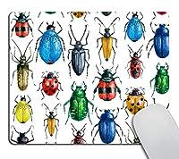 カブトムシマウスパッドカスタム、カラフルな種類のカブトムシ水彩六脚虫バグパーソナライズされた四角形マウスパッド