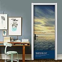 ドアのステッカー粘着ドアポスターつや消し効果表面 - 夕焼けの光景 - 寝室のリビングルームDIYの壁紙 (Color : A+b, Size : XL)