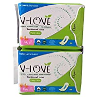 VLOVE Anion Ultra thin Cotton Menstrual Pantiliners Without Wings, Herbal Scented 60Pieces(Pack of 2)
