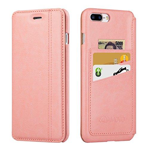 AMOVO iPhone 7 Plus ケース iPhone 7 Plus 手帳型ケース アイフォン7 プラス ケース カードポケット 横向き 軽薄 耐汚れ iPhone 7 Plus 保護ケース (iPhone 7 Plus, ピンク)