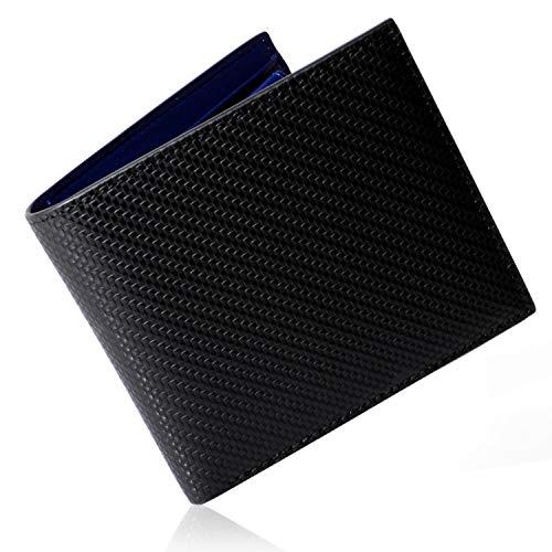 [HODOPUS] 財布 メンズ 二つ折り カーボンレザー 薄型 カード収納 大容量 小銭入れ ブラック × ネイビーブルー