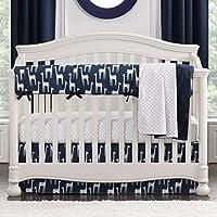 Navy Giraffe Bumperless Crib Bedding 3-piece Set [並行輸入品]