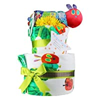 出産祝い 豪華 名入れ刺繍 2段 ERIC CARLE エリックカール はらぺこあおむし おむつケーキ パンパーステープタイプSサイズ 男の子への贈り物 フェイスタオル ウォッシュタオル おもちゃ 手作り ベビー 出産祝いギフト 出産祝