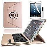 KVAGO iPad Air2用 360度回転式 Bluetooth3.0キーボードカバー キーボード分離可能 iPad Air2保護ケース スタンド機能 PU レザーケース ワイヤレスキーボード USB充電ケーブル付き (ゴールド)