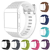 StrapsCo ラバーウォッチバンドストラップ Fitbit Ion用 - S/L Medium-Long ホワイト