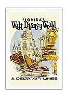 ウォルトディズニーワールドフロリダ - 初年度 操作 - デルタ航空 - ビンテージな航空会社のポスター によって作成された ダニエル・C・スウィーニー c.1971 - キャンバスアート - 69cm x 102cm キャンバスアート(ロール)