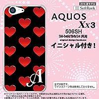 506SH スマホケース AQUOS Xx3 ケース アクオス Xx3 イニシャル ハート 黒×赤 nk-506sh-117ini U