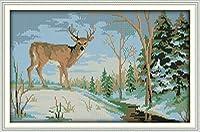 LovetheFamily クロスステッチキット DIY 手作り刺繍キット 正確な図柄印刷クロスステッチ 家庭刺繍装飾品 11CT ( インチ当たり11個の小さな格子)中程度の格子 刺しゅうキット フレームがない - 52×35 cm 森の中の鹿