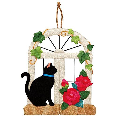 さくらほりきり 手作りキット 押絵飾り 黒猫と窓辺のバラ 縦20×横17cm