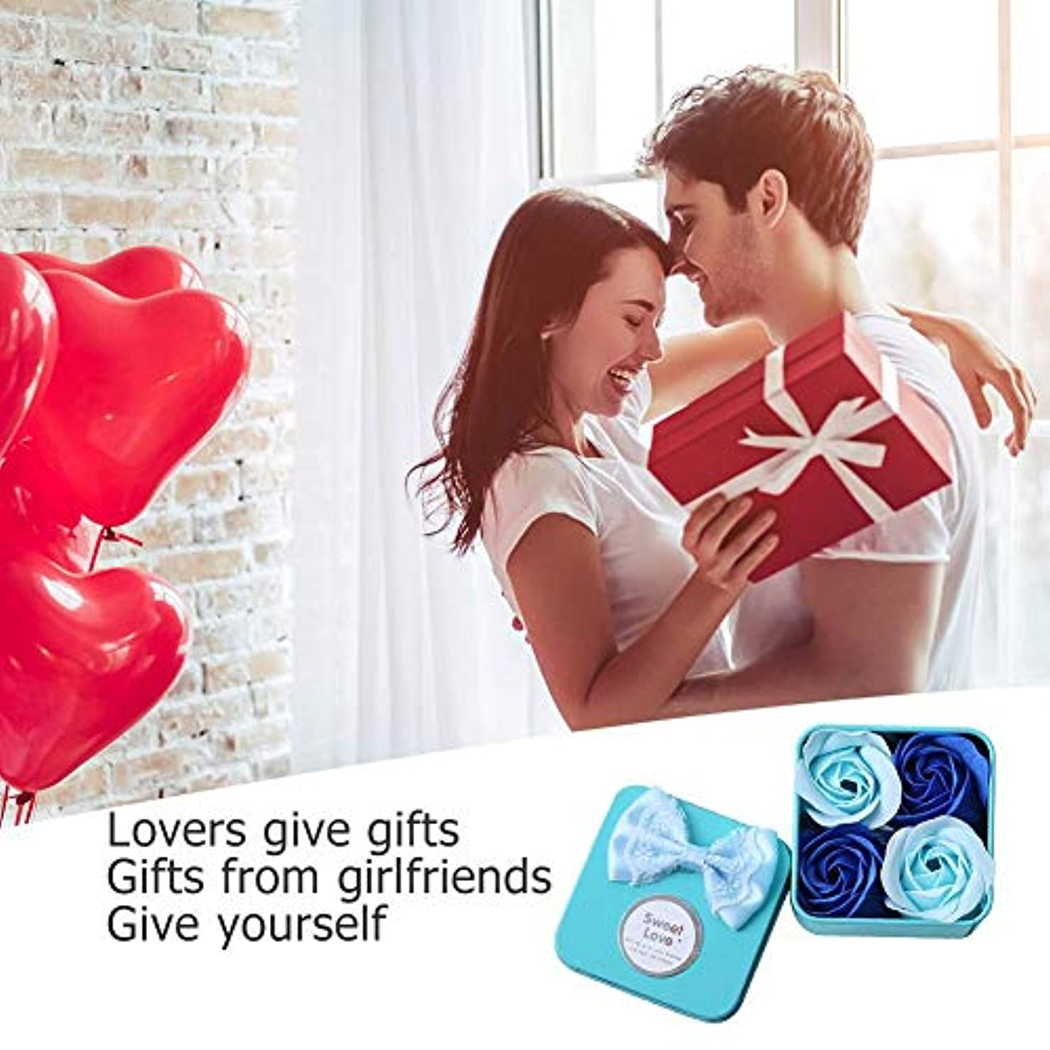 ローズフラワー石鹸 香料入り 風呂 花びら石鹸 香り石鹸 バレンタインデーギフト 4個/ボックス 手作り 母の日 誕生日プレゼント 贈り物 お祝い Amiu