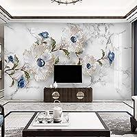 3D壁画壁紙現代クリエイティブ大理石パターンジュエリーフラワーリビングルームのソファテレビの背景装飾壁画 220cm x 140cm
