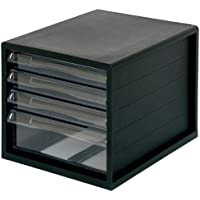 ナカバヤシ A4レターケース 書類ケース 小物整理収納 4段 ブラック A4E-04B