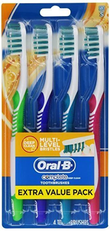 特徴づける目的同行するOral-B Complete Deep Clean Soft Bristles Toothbrush 4 Count by Oral-B [並行輸入品]