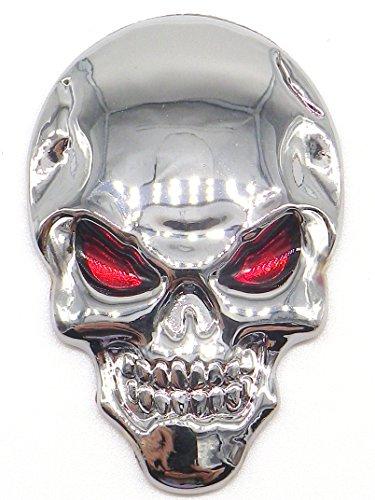 スカル エンブレム 3D 立体 ステッカー 骸骨 ドクロ 2個 セット 装飾 飾り カー アクセサリー ドレスアップ (シルバー)