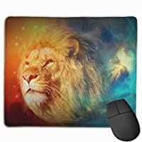 Cheng xiao Mouse Pad Cool Space Lion Art Rectangle Rubber Mousepad Non-toxic Print Gaming Mouse Pad with Black Lock Edge,9.8 * 11.8 in,ベーシック マウスパッド ゲーム用 標準サイズ