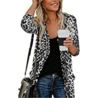 QegarTop Women's Leopard Printed Cardigans Shirt Lightweight Button Down Cardigans Coat W Pockets(S-2XL)
