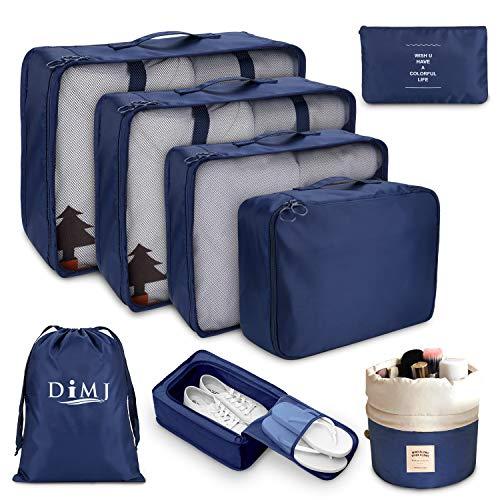 DIMJ トラベルポーチ 8点セット アレンジケース パッキング 旅行用 出張 便利グッズ 衣類収納4個 PC周辺小物用ポーチ1個 靴バッグ1個 洗面用具入れ1個 巾着袋1個 (ブルー)