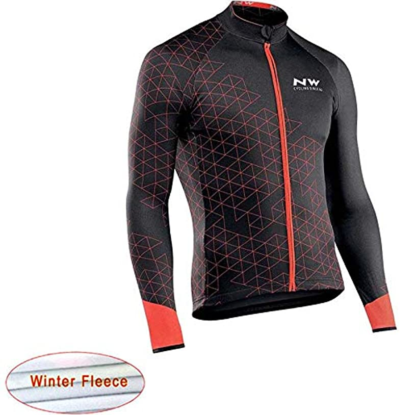 からキャンドル男冬のサーマルフリースサイクリングジャージー長袖自転車レーシングバイクサイクリング服のトップス GBYGDQ (Color : 1, Size : 5XL)