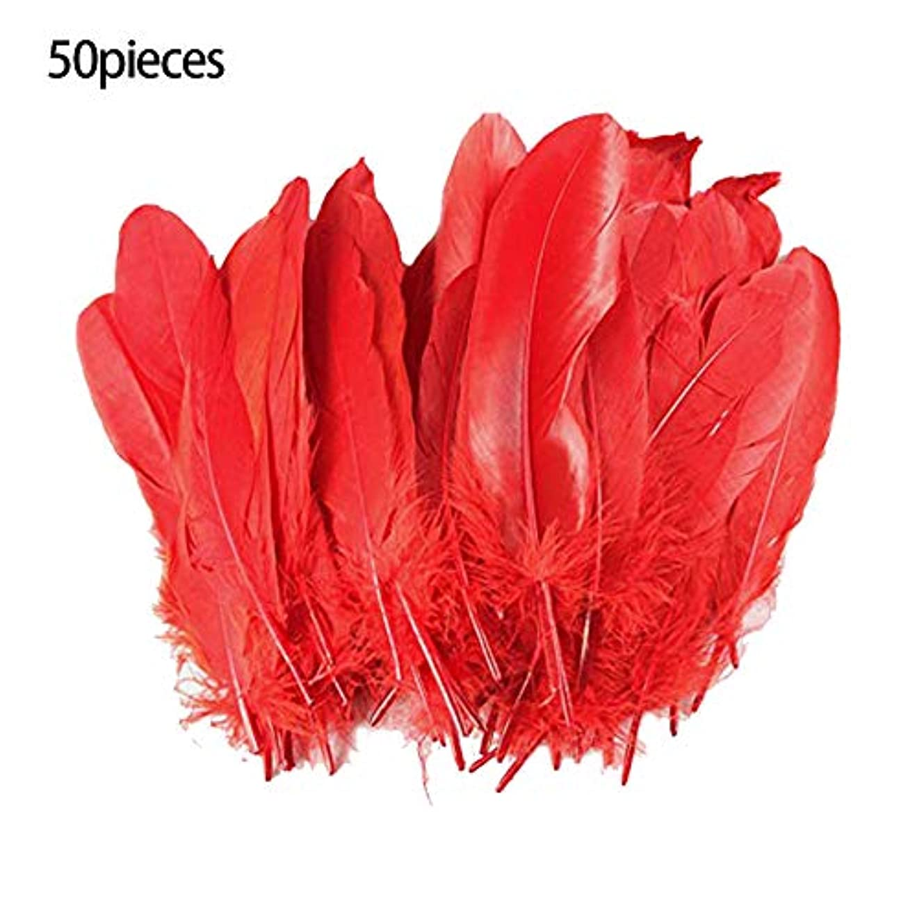 けがをするイブパドルKyand 染め羽根 50枚 ガチョウの羽 15-20CM 工芸品 飾り 結婚式 文化祭 歓迎会 DIY 装飾用の羽根 4色