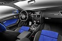 "Audi rs4Avant Nogaro ( 2014)車アートポスター印刷10Milのアーカイブサテン紙ブラック/ブルー内部ビュー 20"" x 15"" 51589"