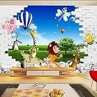 Lixiaoer カスタム壁画壁紙3Dステレオ漫画動物ライオン自然風景大壁画子供の寝室のリビングルーム写真の壁紙-250X175Cm